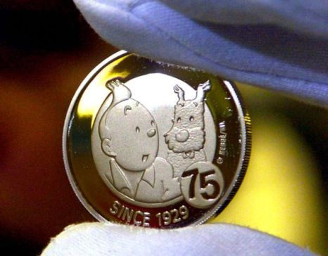 Разработка Бельгийского Королевского монетного двора – 10-центовая монета, выпущенная в честь Тинтина. Фото: BENOIT DOPPAGNE/AFP/Getty Images