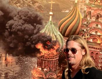 «Война миров Z». Актёр Брэд Питт перед плакатом фильма «Война миров Z» на 35-м Кинофестивале в Москве. Фото: KIRILL KUDRYAVTSEV/AFP/Getty Images