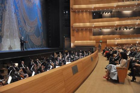 Первый концерт прошёл на новой сцене Мариинского театра. Фото: ALEXEY NIKOLSKY/AFP/Getty Images