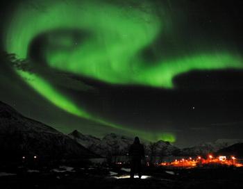 Полярное сияние в северной Норвегии 24 января 2012 г. Фото: Rune Stoltz Bertinussen/AFP/Getty Images