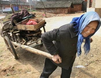 Пожилая китайская женщина использует телегу, чтобы собрать дрова для приготовления пищи около реки Янцзы, город Цзюцзян, 7 марта 2007г. Фото: Mark Ralston/AFP/Getty Images