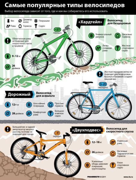 Самые популярные типы велосипедов