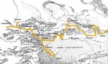Карта маршрута от Самарканда до Кульджи. Фото: vokrugsveta.com