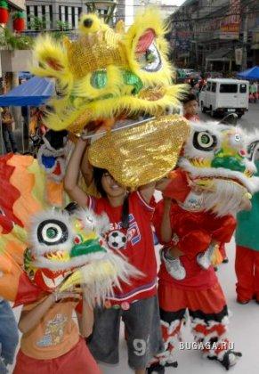 Новый китайский год сопровождается танцами льва и дракона. Фото: Jay Directo/AFP