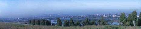 Панорама линзы смога по долине р. Ангары над Иркутском. Фото: Александра АЛЕКСАНДРОВА
