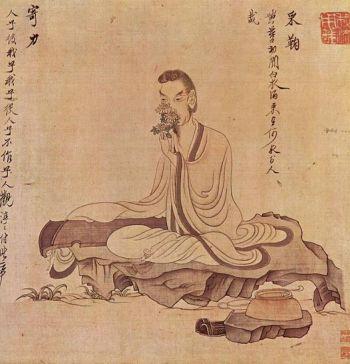 Живопись Чен Хуньшоу человека с китайской цитрой (цин).