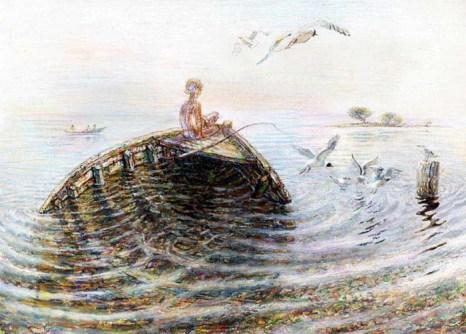 Мальчик и старая лодка. Художник Рашит Сафиуллин