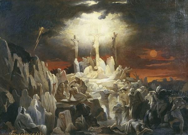 В момент смерти Иисуса на кресте наступила ночь, началась гроза, молния расколола землю под крестом, куда пролилась святая кровь Иисуса. Фото с сайта etnaa.mylivepage.ru