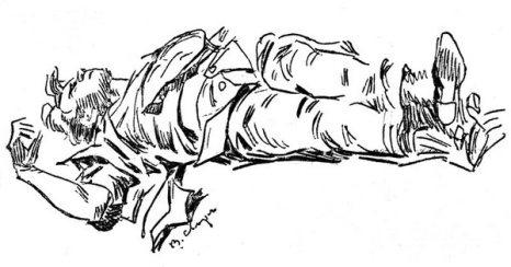 Рисунок художника В. Сварога, на котором изображено тело Сергея Есенина, лежащим на полу. 28 декабря 1925 г. Фото с сайта esenin.ru