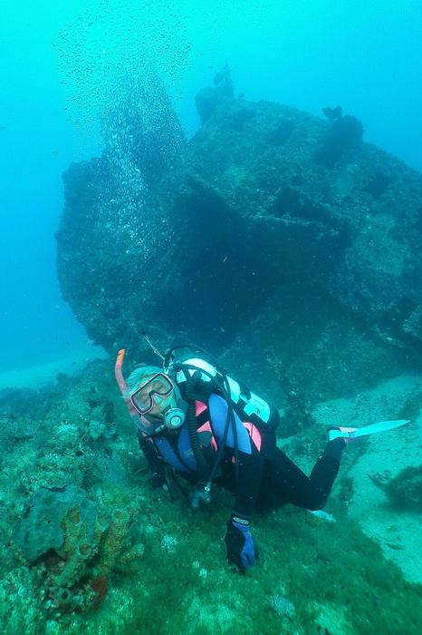 Мириам Моран исследует один из затонувших кораблей в районе Палм-Бич. Это популярное место для дайвинга расположено недалеко от небольшого узкого залива у Палм-Бич. Фото: John Christopher Fine
