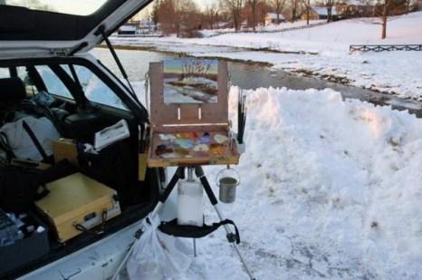 Мне пришлось учитывать прилив. Низкая вода была самой интересной композицией, я нарисовала её утром, и проигнорировала прилив... кроме интересных кусков льда, который он принес с собой. Фото: Мэри Байром