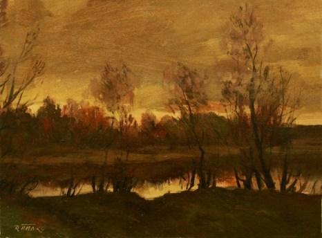 Вечер на реке. Художник Давид Пилко