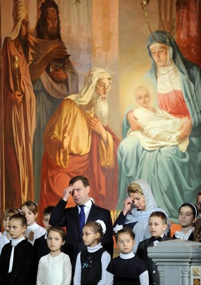 Рождество Христово. Рождественская служба в России.  Фото: YURI KADOBNOV/AFP/Getty Images