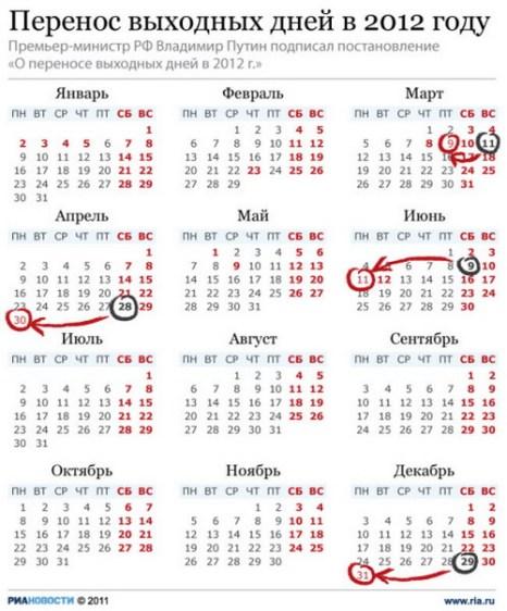 Перенос выходных дней в 2012 году