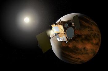 Akatsuki на орбите Венеры.(иллюстрация JAXA).