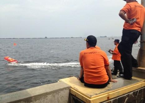 Слева на фотографии робот-спасатель Эмили с оранжевым флажком. Фото: Hydronalix