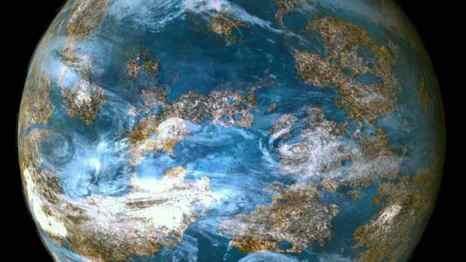 Фрагмент видео, который показывает образ массивной планеты с климатом, схожим с земным. Фото: Kepler/NASA