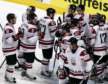 Сборная Латвии разгромила команду Норвегии. Фото: Alex GRIMM/Bongarts/Getty Images