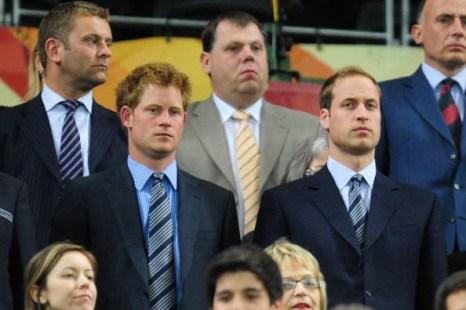 Кейптаун, Южная Африка - стадион Грин-Пойнт: Принц Гарри (L) и принц Уильям  (R). Фото: Jamie McDONALD/Getty Images