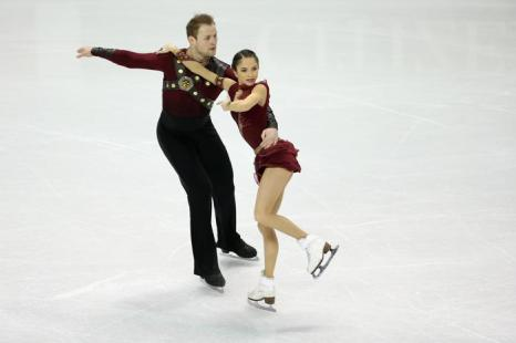 Вера Базарова и Юрий Ларионов на Чемпионате мира 15 марта 2013 года в Лондоне. Фото: Ronald Martinez/Getty Images