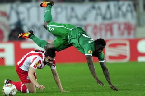 «Рубин» проиграл «Олимпиакосу» со счетом 0:1. Фоторепортаж  с матча. Фото: ARIS MESSINIS/AFP/Getty Images