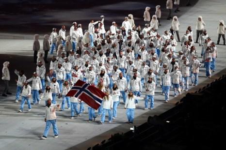Команда норвежских спортсменов. Церемония открытия Олимпийских игр в Сочи. 7 февраля 2014 год. Фото: Clive Mason/Getty Images