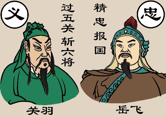 Гуань Юй из эпохи Троецарствия был известен своей праведностью, а Юэ Фэй из династии Сун — преданностью. Иллюстрация: Великая Эпоха (The Epoch Times)