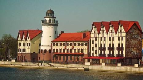 Рыбная деревня на берегу Преголи. Современная стилизация под старинные здания. Фото: Ingvar Wolf/commons.wikimedia.org
