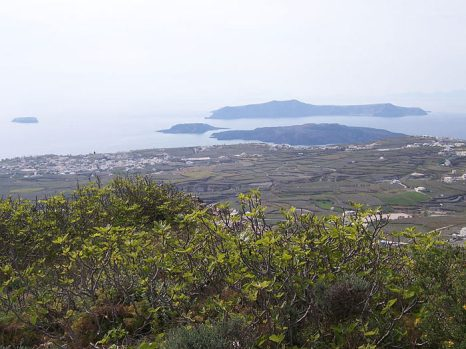 Все пять островов группы Санторини на одном снимке: Тира на переднем плане, далее слева направо: Аспро, Палеа Камени, Неа Камени (ближе), Тирасия (дальше). Фото: Mousemaster/commons.wikimedia.org