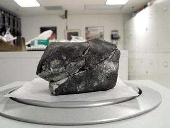 Пробивший крышу дома метеорит. Фото Linda Welzenbach/Smithsonian National Museum of Natural History