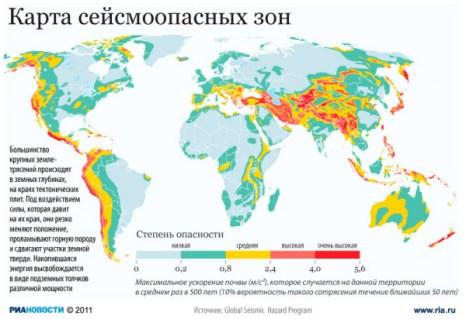 Карта сейсмоопасных зон