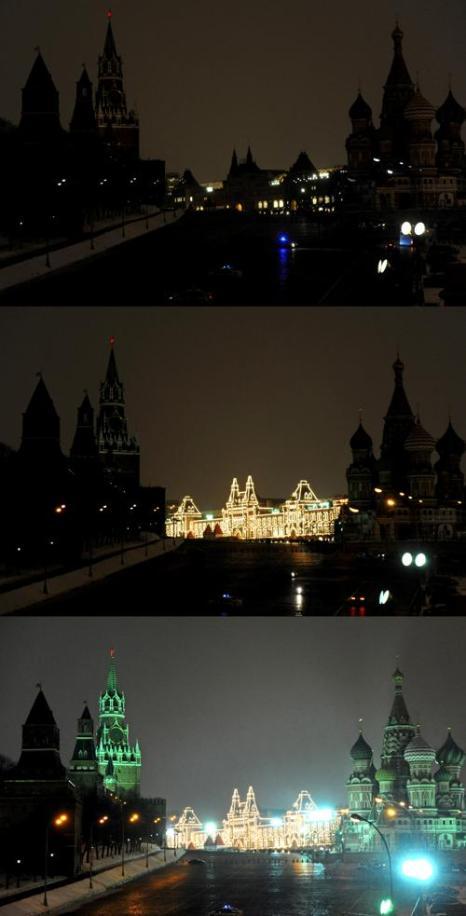 В Москве прошёл Час Земли. Фото: ANDREY SMIRNOV/AFP/Getty Images