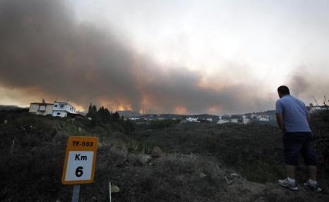 Лесные пожары бушуют на Тенерифе 16 июля 2012 г. Фото: DESIREE MARTIN/AFP/GettyImages