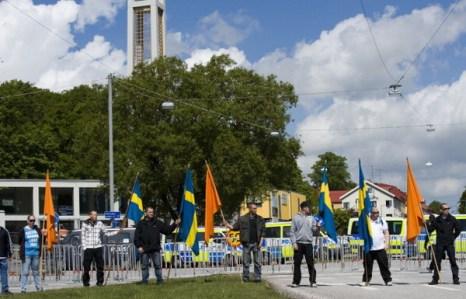 Фоторепортаж об акции протеста в Швеции против строительства мечети в Гетеборге. Фото: JONATHAN NACKSTRAND/AFP/Getty Images