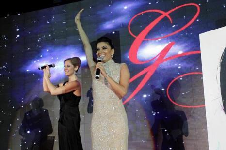 Лара Фабиан и Ева Лонгория на благотворительном ужине Global Gift Gala 2013, который состоялся в отеле Gran Melia Don Pepe Resort 4 августа 2013 года.  Фото: Daniel Perez/Getty Images