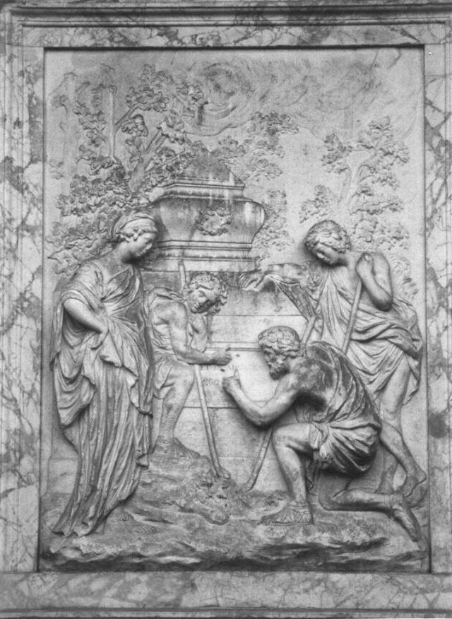 Рельеф памятника, за основу которого была взята картина Николы Пуссена «Пастух Аркадии». Фото: Wikimedia Commons