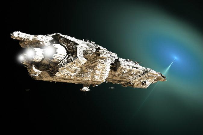 притягивающий луч, космический корабль