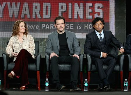 PASADENA, CA - JANUARY 17:  (L-R) Actors Melissa Leo and Matt Dillon and executive producer/director M. Night Shyamalan speak onstage during the 'Wayward Pines' panel discussion at the FOX portion of the 2015 Winter TCA Tour at the Langham Hotel on January 17, 2015 in Pasadena, California.  (Photo by Frederick M. Brown/Getty Images)