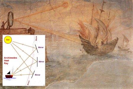 Archimedes-Mirror-by-Giulio-Parigi-masur-via-wikimedia-commons-Archimedes-Heat-Ray-conceptual-diagram-tablizer-via-wikimedia-commons-WEBONLY