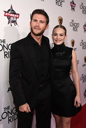 """HOLLYWOOD, CA - APRIL 06:  Actor Scott Eastwood (L) and actress Britt Robertson attend the premiere of Twentieth Century Fox's """"The Longest RIde"""" at the TCL Chinese Theatre IMAX on April 6, 2015 in Hollywood, California.  (Photo by Michael Buckner/Getty Images)"""