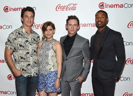 """LAS VEGAS, NV - APRIL 23:  (L-R) Actors Miles Teller, Kate Mara, Jamie Bell and Michael B. Jordan, recipients of the Ensemble Award for """"Fantastic Four,"""" attend The CinemaCon Big Screen Achievement Awards brought to you by the Coca-Cola Company at Omnia Nightclub at Caesars Palace during CinemaCon, the official convention of the National Association of Theatre Owners, on April 23, 2015 in Las Vegas, Nevada.  (Photo by Ethan Miller/Getty Images for CinemaCon)"""