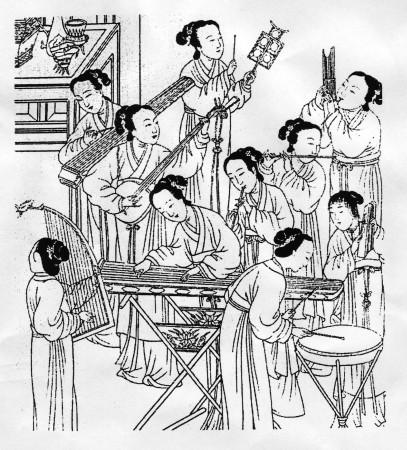 Древний Китай, женский ансамбль, древняя китайская гравюра.