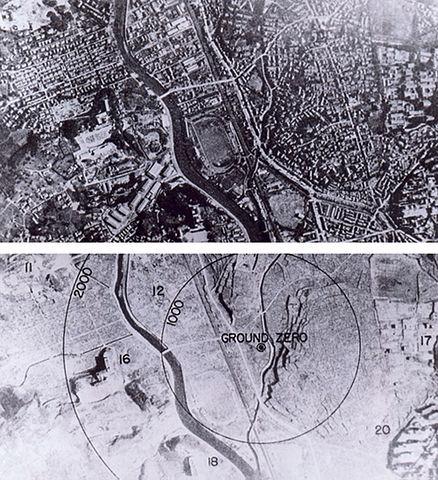Нагасаки до и после атомного взрыва. Фото: El Comandante/wikipedia.org/public domain