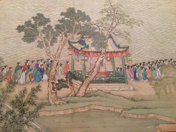 «Южная поездка императора Цяньлуна», сцена из шестого свитка: въезд в Сучжоу по великому каналу, Юй Ян и ученики, династия Цин (1644-1911), 1770 г. тушь и краски по шёлку. Фото: Kati Vereshaka/Epoch Times
