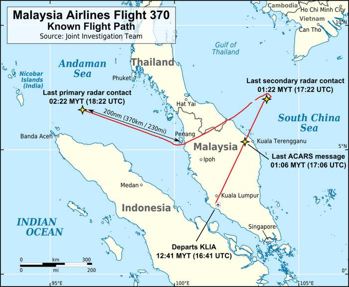 Маршрут Boeing 777, установленный на основании сведений от военных радаров. Фото: AHeneen/wikipedia.org/CC BY 3.0