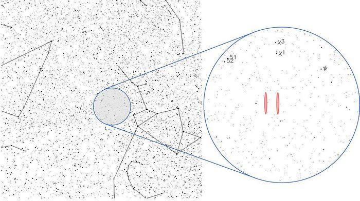 Возможные положения источника сигнала в созвездии Стрельца, вблизи звёздной группы Хи Стрельца. Фото: Wesha/wikipedia.org/CC BY-SA 3.0