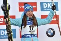 Биатлонистка завоевала золотую медаль