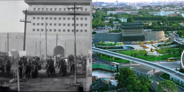 Слева направо: Дэшэнмэнь в 20-е годы и сейчас. Фото: Sina