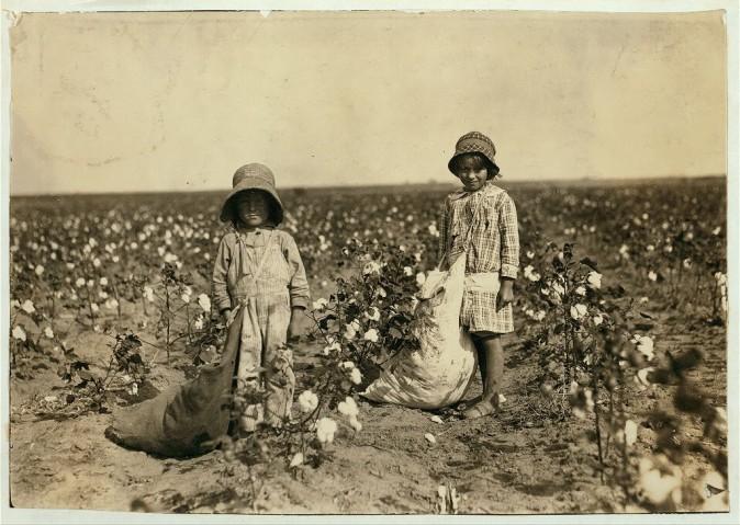 Джевель и Гарольд, 6 и 5 лет, собирают от 20 до 25 фунтов хлопка в день. Штат Оклахома, 10 октября 1916 года. Фото: L.W. Hine/LOC