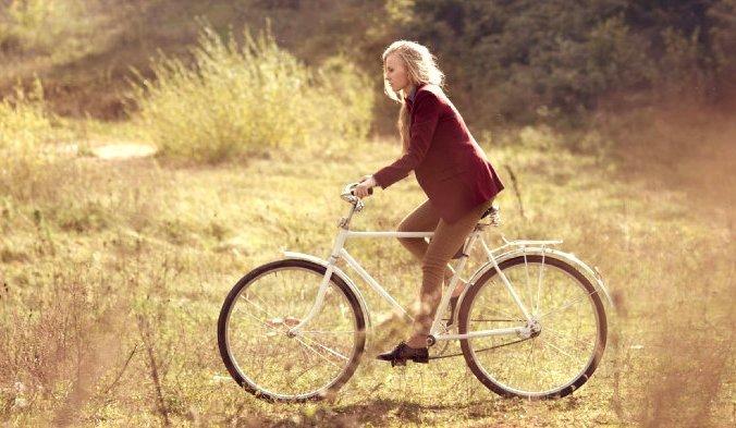 велоспипед, девушка, прогулка